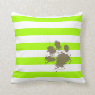 Funny Pawprint on Electric Lime Green Stripes Cushion