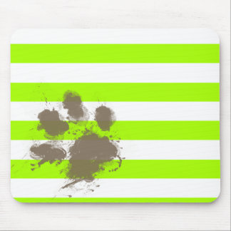 Funny Pawprint on Electric Lime Green Stripes Mouse Pad