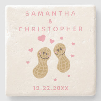 Funny Peanuts Cute Whimsical Pink Wedding Favor Stone Coaster