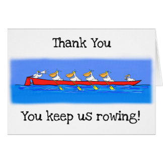 Funny pelicans rowing cartoon Thank You card. Card