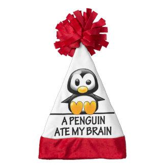 Funny Penguin Ate My Brain Graphic Santa Hat