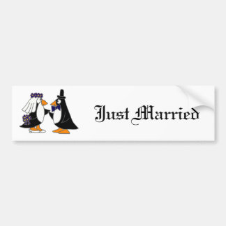 Funny Penguin Bride and Groom Wedding Cartoon Bumper Stickers