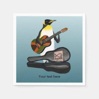 Funny Penguin Busking Paper Serviettes