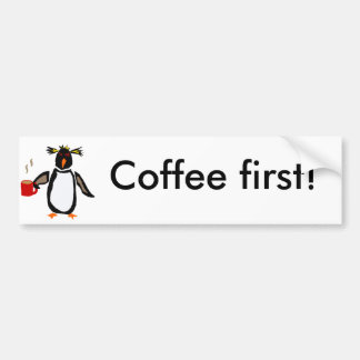 Funny Penguin Drinking Coffee Bumper Sticker