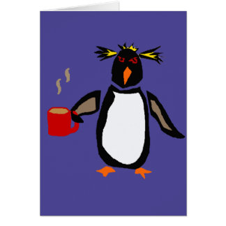 Funny Penguin Drinking Coffee Card