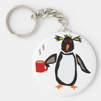 Funny Penguin Drinking Coffee Key Ring
