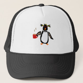 Funny Penguin Drinking Coffee Trucker Hat