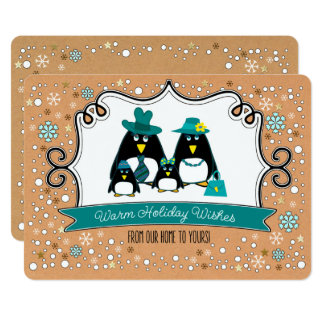 Funny Penguin Family Christmas Flat Greeting Cards