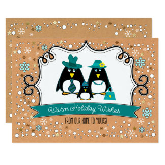 Funny Penguin Family Christmas Flat Greeting Cards 13 Cm X 18 Cm Invitation Card