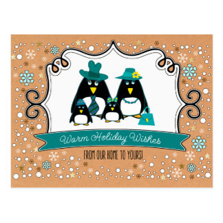Funny Penguin Family Christmas Postcards