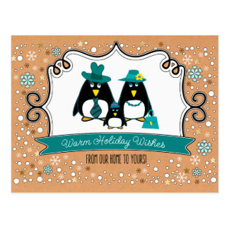 Funny Penguin Family of 3 Christmas Postcards