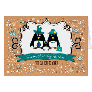 Funny Penguin Family of 3 Custom Christmas Cards