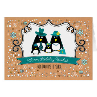 Funny Penguin Family of 4 Custom Christmas Cards