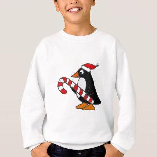 Funny Penguin in Santa Hat holding Candy Cane Art Sweatshirt