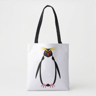 Funny penguin rockhopper or macaroni tote bag