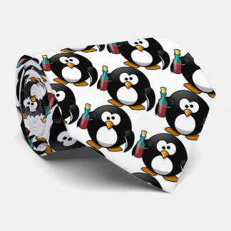Funny Penguin with alcohol Tie