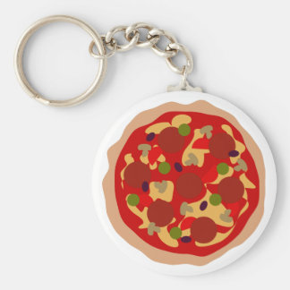 Funny pepperoni pizza custom round button keychain
