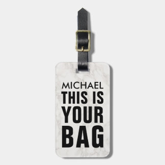 FUNNY PERSONALIZED BAG ATTENTION MASCULINE MARBLE BAG TAG