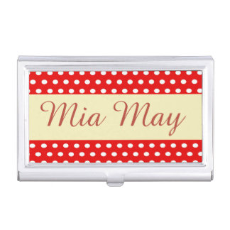 Funny, Personalized, Dots, Red and white Business Card Holder