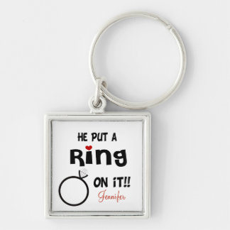Funny Personalized He put a Ring on it Key Ring