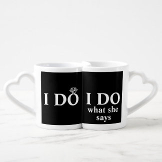 "Funny Personalized ""I Do"" Wedding Anniversary Lovers Mug Sets"