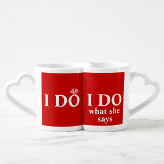"Funny Personalized ""I Do"" Wedding Anniversary Lovers Mugs"
