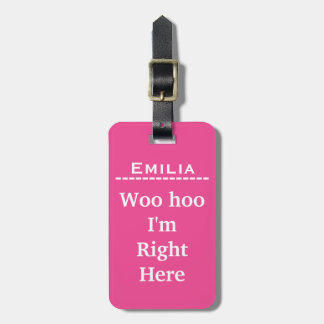 Funny Personalized Luggage Tag | Pink