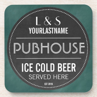Funny Personalized Pubhouse Chalkboard Sign Coaster