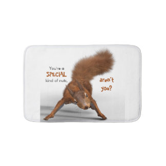 Funny Photo of Red Squirrel   Special Kind of Nuts Bath Mat