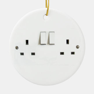 Funny Photo of UK Electrical Outlet Round Ceramic Decoration