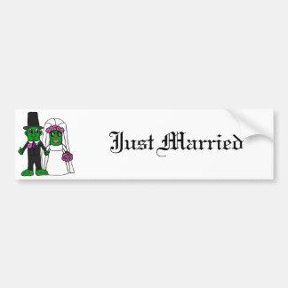 Funny Pickle Bride and Groom Wedding Art Car Bumper Sticker