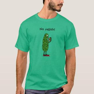 Funny Pickle Eating Hamburger Cartoon T-Shirt