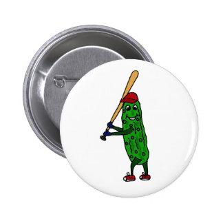 Funny Pickle Playing Baseball Cartoon 6 Cm Round Badge