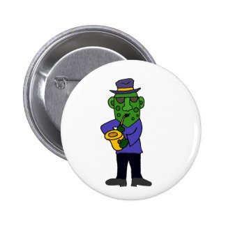 Funny Pickle Playing Jazz on Saxophone 6 Cm Round Badge