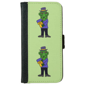 Funny Pickle Playing Jazz on Saxophone iPhone 6 Wallet Case