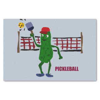 Funny Pickle Playing Pickleball Art Design Tissue Paper