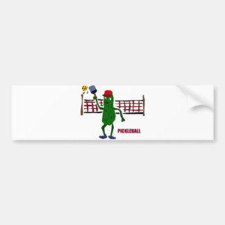 Funny Pickle Playing Pickleball with Net Art Bumper Sticker