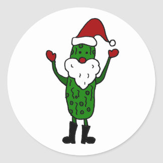 Funny Pickle Santa Claus Christmas Design Classic Round Sticker