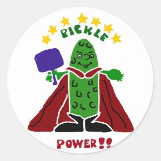 Funny Pickleball Super Hero Pickle Round Sticker