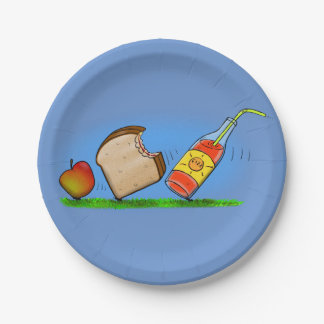 Funny picnic cartoon picture paper plate