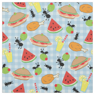 Funny Picnic Food Fabric