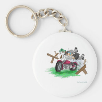 Funny picture of man on motorcycle crashing key ring