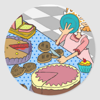 Funny Pie in the Face Button Round Sticker