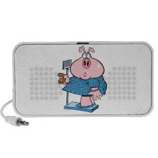 funny pig on a diet eating a donut on a scale iPod speaker