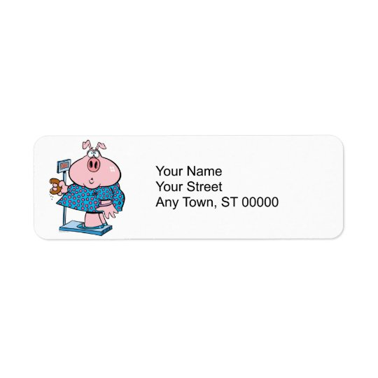 funny pig on a diet eating a doughnut on a scale return address label
