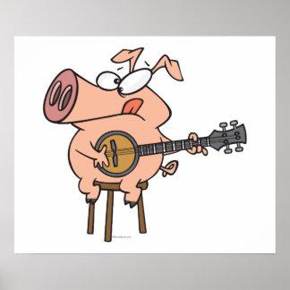 funny pig playing a banjo cartoon character poster