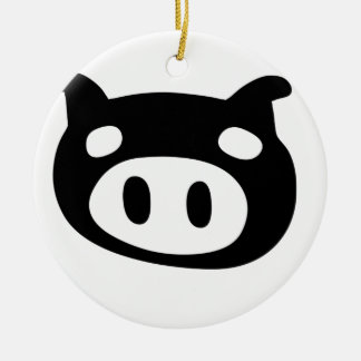 Funny Pig Shape Round Ceramic Decoration