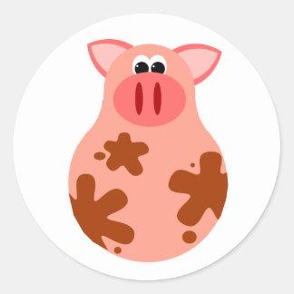 Funny Pig Sticker Round Sticker