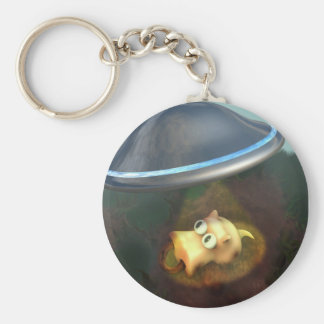 Funny Pig UFO Abduction Keychain