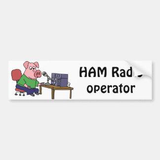 Funny Pig Using Ham Radio Bumper Sticker